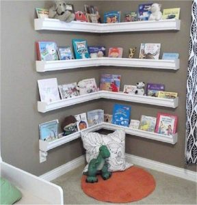 An idea from Jim Trelease (The Read-Aloud Handbook) Rain guttering and brackets create a special reading corner.