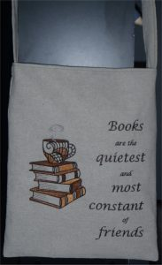 Adult library bag with favourite personal quote